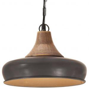 VidaXL Lampe suspendue industrielle Gris Fer et bois solide 26 cm E27