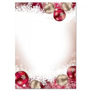 Sigel DP041 Papier à lettre de Noël, boules de Noël, 21 x 29,7 cm, 90g/m², rouge et doré, 100 feuilles