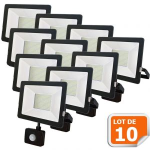 Lampesecoenergie Lot de 10 Projecteur LED 20W Detecteur Mouvement Classic Noir 6000K