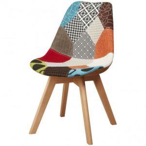 BOBOCHIC Lot de 4 chaises patchwork type scandinaves