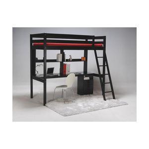 Ensemble lit mezzanine Saltillo avec studio bureau et caisson  (90 x 190 cm)