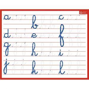 Bouchut grandremy Ardoise blanche effaçable à sec format 21 x 26,5cm, avec l'aphabet en minuscule cursive