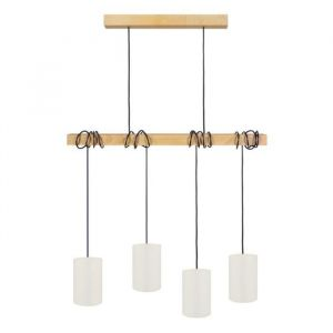 HARLEM Lustre 4 têtes en bois et coton L80 x H180 cm Blanc E27 4x40W