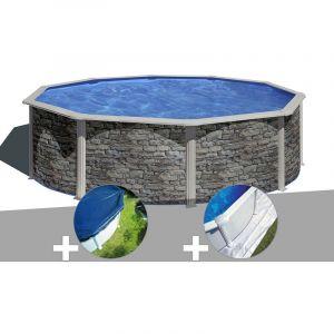 Gre Kit piscine acier aspect pierre Cerdeña ronde 4,80 x 1,22 m + Bâche hiver + Tapis de sol