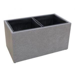 Cache-pot en fibre de ciment - 37x69x37cm - Gris