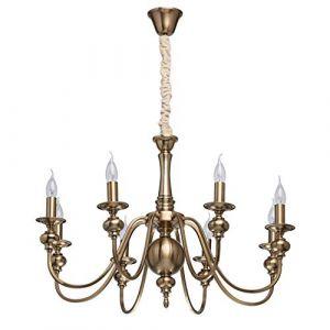 MW-Light 614010608 Lustre Chandelier Classique à 8 Bras en Métal couleur Laiton Lampes Bougies pour Salon Chambre Salle à Manger 8x60W E14