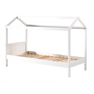 """Vipack Furniture Lit Enfant Cabane en Bois """"Erik"""" 207cm Blanc"""