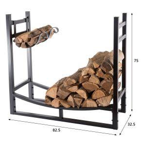 Image de BC-Elec Bc elec - HMFR-16 Rangement à bois en acier noir 83X33X75CM, rack pour bois de chauffage, range-bûches