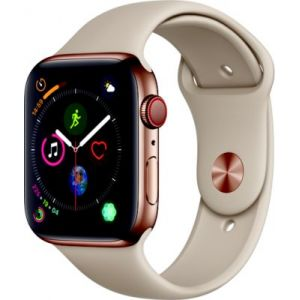 Apple Watch Series 4 GPS + Cellular, 44mm - Boîtier en acier inoxydable or avec Bracelet Sport gris sable