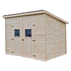 Habrita Abri de jardin en panneau et bois massif - Toit mono pente - Sans plancher -16 mm - 6,60 m2