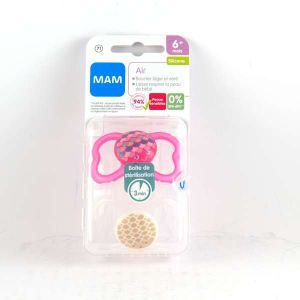 Mam 2 sucettes Air silicone forme Papillon 6 mois +