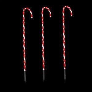 Lot de 3 sucres d'orge lumineux Rouge 60 LED