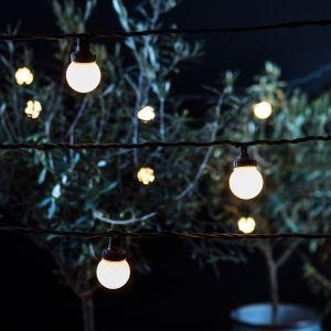Lights4Fun Guirlande Guinguette Extérieure Raccordable avec 20 Globes LED Blanc Chaud sur Câble Vert Foncé, Série PRO