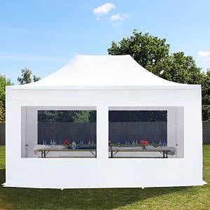 Intent24 Tente pliante / pliable PREMIUM 3x4,5 m avec fenêtres panoramiques en Polyester de qualité blanc.FR