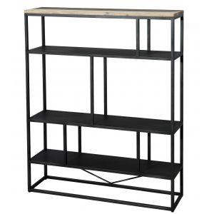 """Étagère """"L"""" scandinave en bois acacia m if naturel, noir et blanc + pieds en métal noir L 110 cm"""