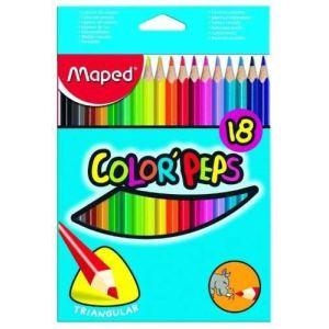 Maped 18 Crayons de couleur Color'Pep's assortis