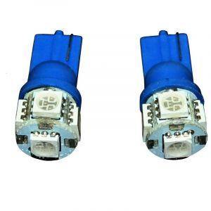 Aerzetix 3800946165323 Ampoules T10 W5W 12 V à 5 LED SMD, Bleu, Set de 2