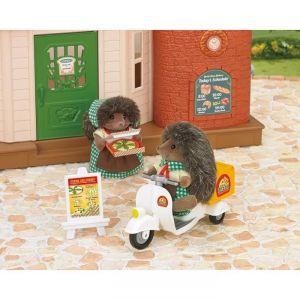 Epoch Sylvanian Families 5238 - Livreur de pizza scooter et figurine