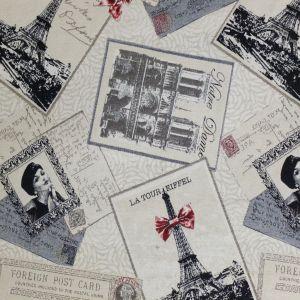 Craftine Tissu Jacquard Cartes postales vintage Beige