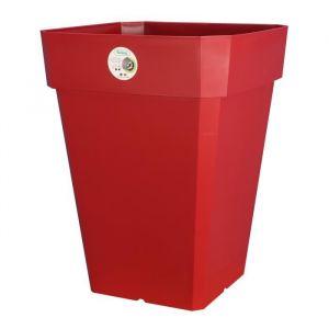 Riviera Pot carré Soleilla en plastique H50cm - 65l - Rouge