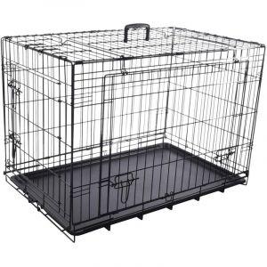 Flamingo Cage NYO noir L. 59 x 93 x 62.5 cm. en métal avec porte coulissante. pour chien