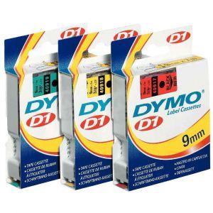 Dymo S0720730 - Cassette ruban D1 étiquettée noir sur jaune 9mm/7,0m
