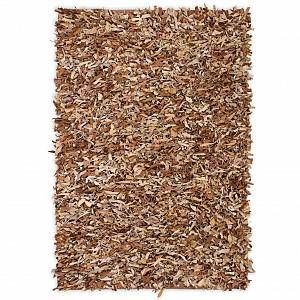 VidaXL Tapis shaggy Cuir véritable 160 x 230 cm Brun roux