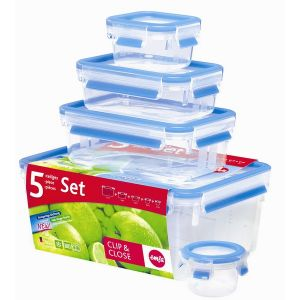 Emsa Lot de 5 boites alimentaires Clip & Close 3D Perfect Clean