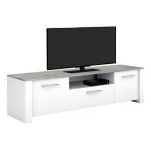 Declikdeco Meuble TV 2 portes 1 tiroir en décor béton et blanc 6344ebe08166