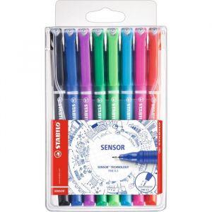 Stabilo 189/8 - Etui de 8 stylos-feutres SENSOR, tracé 0,3 mm, encre 8 coul., coloris assortis