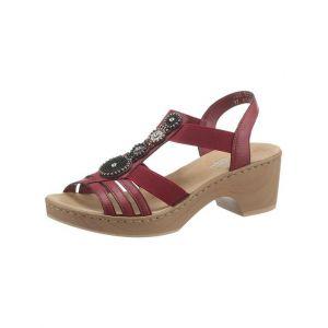 Rieker V28S8 Femme Sandale à lanières,Sandales à lanières,Chaussures d'été,Confortables,wine/35,37 EU / 4 UK
