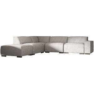 Comforium Canapé d'angle moderne à 5 places avec méridienne gauche en tissu gris clair