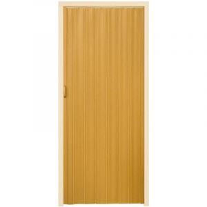 Porte accordéon pliante PVC salle de bain extensible coulissante largeur 80 cm brun clair