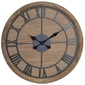 Wellindal Wadiga Horloge Murale Ronde Bois et Métal Noir - 60cm