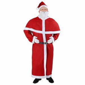 Deuba Costume de Père Noël - Déguisement pere noel Adulte Rouge - Ensemble complet 5 pièces avec barbe et ceinture - Adulte Santa Noël