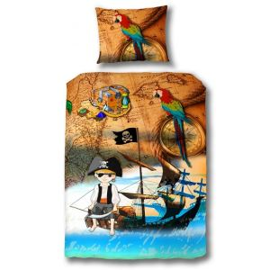 Someo Pirate - Housse de couette et taie 100% coton (140 x 220 cm)
