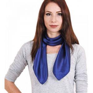 Allée du foulard Carré de soie Premium Uni Bleu marine