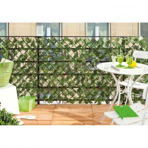 Intermas Gardening Greenly - Treillis en osier avec feuillage synthétique 1 x 2 m