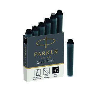 Parker Cartouches courtes pour stylos plumes - Boîte de 6 noire