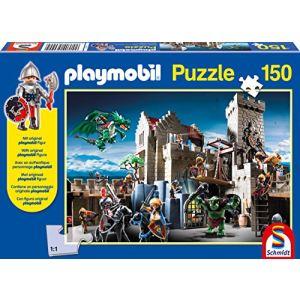 Schmidt Combat pour le trésor royal Playmobil + figurine - Puzzle 150 pièces