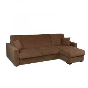 INSIDE Canapé d'Angle RAPIDO DREAMER Convertible lit 140*190*14 Couchage Quotidien, Microfibres Marron