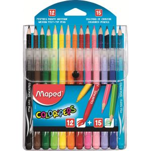 Maped Lot de 12 feutres + 15 crayons de couleur color'peps
