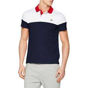 36fa6e20980 Lacoste Sport DH3399 Polo Homme Bleu (Blanc Marine-Rouge Blanc A10) Medium