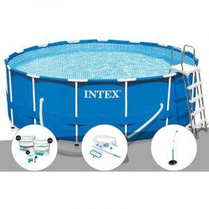 Intex Kit piscine tubulaire Metal Frame ronde 4,57 x 1,22 m + Kit de traitement au chlore + Kit d'entretien + Douche solaire