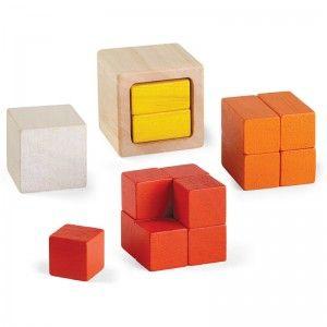"""Plan Toys Cubes en bois sensoriels """"Volumes & Fractions"""""""