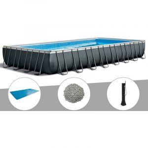 Intex Kit piscine tubulaire Ultra XTR Frame rectangulaire 9,75 x 4,88 x 1,32 m + Bâche à bulles + 20 kg de zéolite + Douche solaire