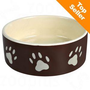 Trixie Ecuelle céramique avec empreintes de pattes, 1,4 l/ø 20 cm, brun/crème pour chien