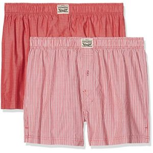 Levi's 300ls Striped Chambray Woven Boxer 2 Pack - Red - XL