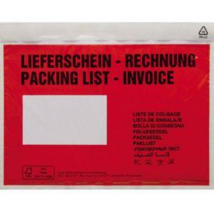 Poc tte pour doc ents DIN C6 rouge Liefersc in Rechnung, mehrsprachig avec autocollant 1 paquet(s)