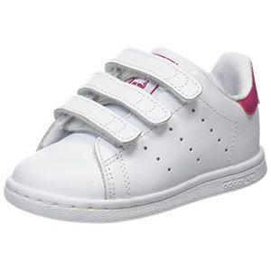 Adidas Stan Smith, Baskets mixte bébé, Blanc (Footwear White/Footwear White/Bold Pink), 20 EU